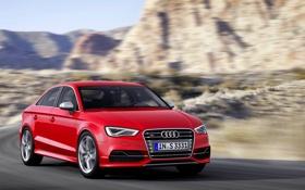 Обои Audi, Красный, Капот, Автомобиль, Sedan, Передок, В Движении