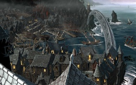 Обои море, город, корабли, бухта, залив, арка