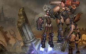 Картинка оружие, девушки, доспехи, руины, Arena, Ladies, Quake