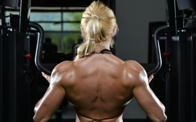 Обои back, gym, blonde, bodybuilder