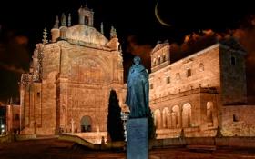 Картинка ночь, огни, луна, площадь, памятник, Испания, Саламанка
