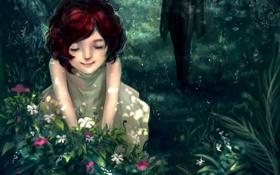 Картинка лес, цветы, девочка, кустик