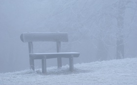 Обои зима, снег, скамейка, природа, настроение, лавочка, скамейки