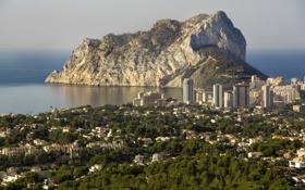 Обои скала, побережье, панорама, Испания, Spain, Средиземное море, Mediterranean Sea