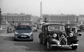 Обои старое фото, Citroën DS3, креативная идея, чёро-белое, новая обработка