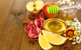 Обои ложка, корица, яблоки, пряности, мед, баночка, мёд