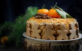 Обои мандарины, корица, человечки, ель, медовик, торт