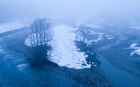 Картинка снег, туман, река, ручей, весна