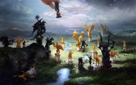 Обои пейзаж, замок, игра, рука, драконы, арт, всадники