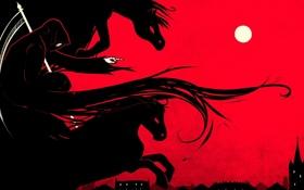 Обои город, смерть, луна, кони, арт, коса, охота