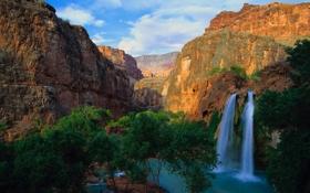 Обои небо, деревья, пейзаж, горы, река, водопад, поток
