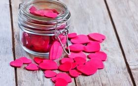 Обои розовые, Сердце, банка, сердечки, доски