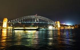 Картинка ночь, мост, огни, река, выдержка, Австралия, фонари