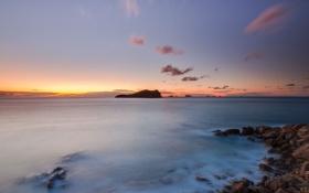 Картинка пляж, пейзаж, камни, океан, скалы, рассвет, берег