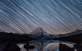 Картинка звезды, снег, ночь, озеро, гора, выдержка