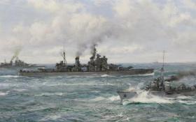 Обои море, корабли, крейсер, Montague Dawson