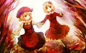 Обои осень, листья, девушки, арт, виноград, чепчик, touhou