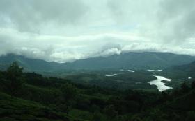 Картинка облака, деревья, река, долина
