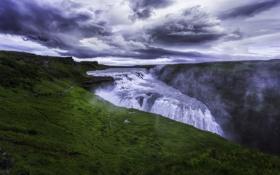 Картинка трава, облака, водопад, Исландия, Gullfoss