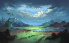 Обои облака, река, трава, деревья, скалы, нарисованный пейзаж