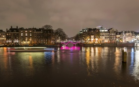 Обои ночь, город, река, фото, дома, Нидерланды, Amsterdam