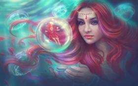 Картинка море, вода, девушка, рыбы, волосы, арт, медузы