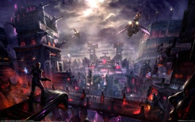 Обои город, будущее, арт, J.P. Targete