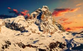 Картинка снег, горы, рассвет, месяц