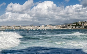 Картинка волны, облака, яхты, катера, Испания, Spain, San Sebastian