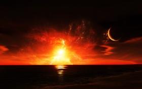 Картинка закат, фантастический пейзаж, космос, берег, небо, чужая планета, море