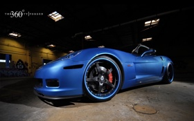 Обои синий, Z06, Corvette, Chevrolet, шевроле, blue, корвет