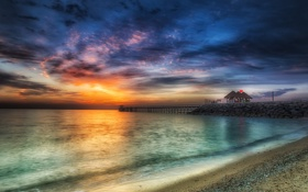 Обои закат, пейзаж, Kuwait, море
