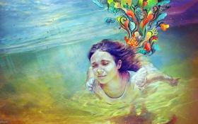 Картинка цвета, вода, девушка, краски, рисунок, глубина, яркость
