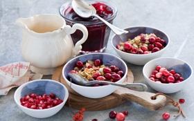 Картинка ягоды, еда, завтрак, красные, джем, хлопья, гранат