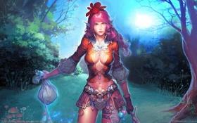 Картинка лес, девушка, эльф, меч, доспехи, сумерки, CG wallpapers