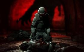 Обои смерть, мертвый, тень, противогаз, шлем, resident evil, спецназ