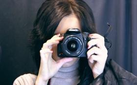Обои девушка, фотоаппарат, объектив