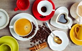 Картинка кофе, зерна, палочки, чашки, корица, пряности, ложки