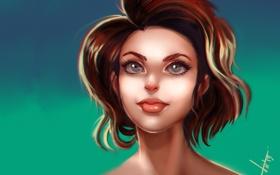 Обои взгляд, девушка, фон, волосы, арт, рыжая, живопись