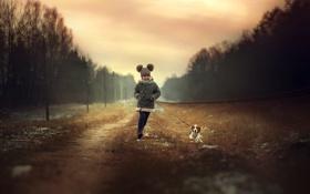 Картинка собака, девочка, прогулка