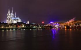 Обои ночь, мост, город, река, Германия, церковь, Germany