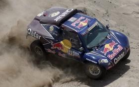 Обои Песок, Синий, капот, Пустыня, Гонка, Red Bull, Rally