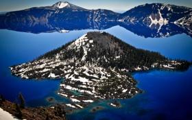 Картинка лес, горы, озеро, Oregon, Crater Lake, кратер вулкана