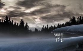 Картинка зима, снег, пейзаж, вечер