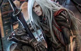 Обои металл, интерфейс, меч, арт, парень, киборг, белые волосы