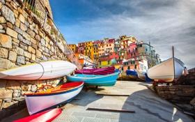Обои Лигурийское море, Manarola, здания, лодки, город, берег, дома