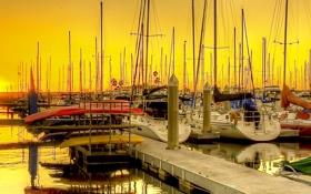Картинка закат, Калифорния, небо, вечер, США, яхта, Redondo Beach