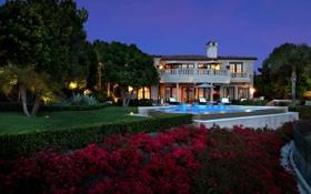 Обои шезлонги, бассейн, вилла, дом, вечер, огни, деревья