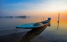 Картинка закат, озеро, лодка