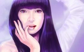 Картинка девушка, лицо, кровь, волосы, рука, арт, губы